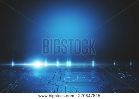 Abstract Blue Circuit Background With Copy Space. Technology And Communication Concept. 3d Rendering