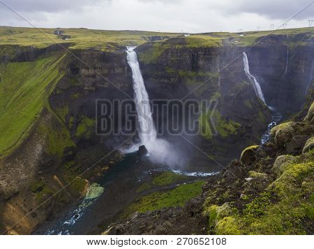 Valley Of River Fossa With Beautiful Haifoss Waterfall In South Iceland, Summer Moody Sky