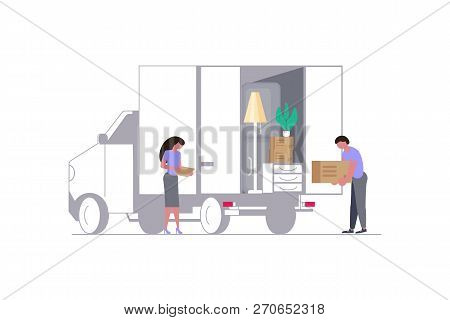 Concept For Transport Company Isolated On White Background.  Moving Truck With Movers And Cardboard