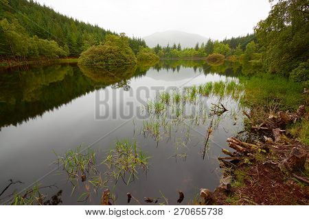 Glencoe Lochan Landscape View With Distant Mountain