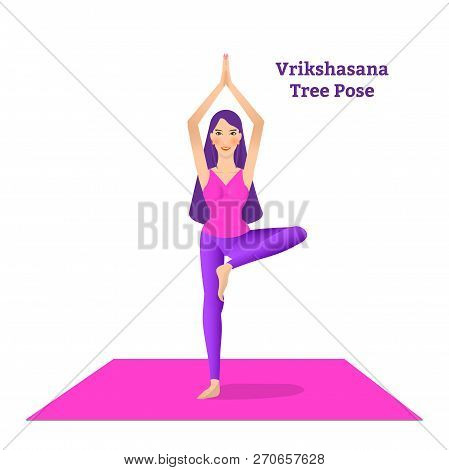 Beautiful Girl Is Doing Yoga, Standing In Vrikshasana Tree Pose