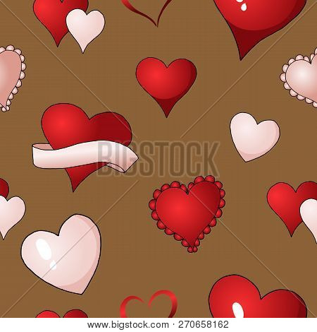 Valentines hearts vector seamless pattern background repetitive textile paint poster
