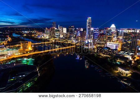 Austin Nightscape - Places At Night - Aerial Drone View Capital Cities Austin, Texas , Usa Skyline C