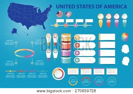 The Blind Map Of United States Of America, Timeline And A Number Of Different Blank Labels Ready For