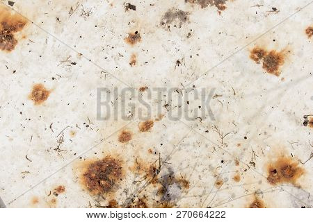Rusty White Metal Background, White Metal Plate With Traces Of Rust, Metal Corroded Texture, Rusty M