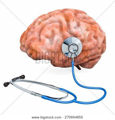 Human Brain With Stethoscope. Diagnosis And Treatment Of Brain Concept, 3d Rendering Isolated On Whi