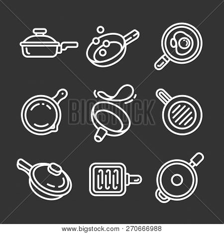 Griddle Icon Set. Outline Set Of Griddle Vector Icons For Web Design Isolated On Gray Background