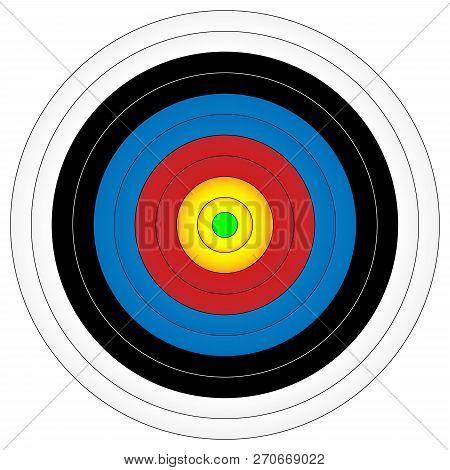 Archery Target, Vector Illustration, Bullseye In Green