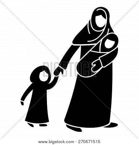 Refugee Mother Children Icon. Simple Illustration Of Refugee Mother Children Vector Icon For Web Des