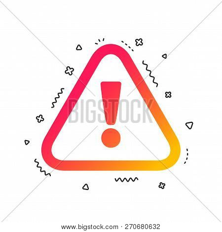 Attention Sign Icon. Exclamation Mark. Hazard Warning Symbol. Colorful Geometric Shapes. Gradient At