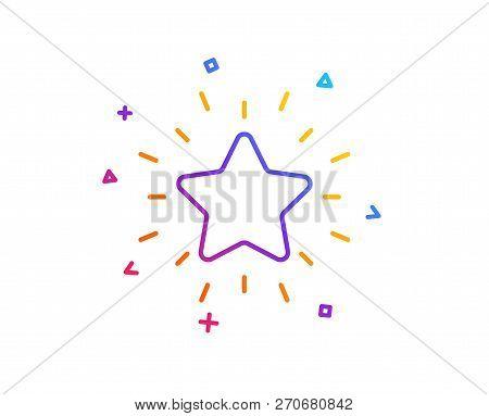 Rank Star Line Icon. Success Reward Symbol. Best Result Sign. Gradient Line Button. Rank Star Icon D