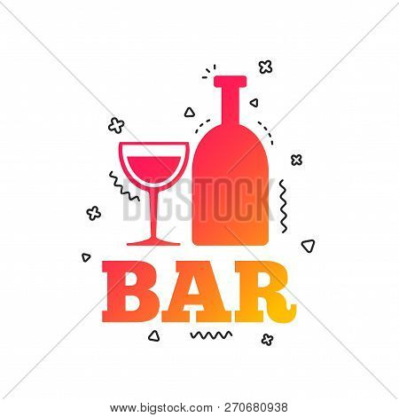 Bar Or Pub Sign Icon. Wine Bottle And Glass Symbol. Alcohol Drink Symbol. Colorful Geometric Shapes.