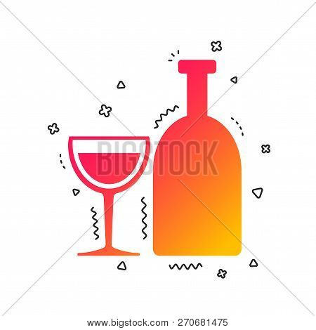 Alcohol Sign Icon. Drink Symbol. Bottle With Glass. Colorful Geometric Shapes. Gradient Alcohol Icon