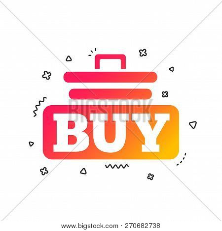 Buy Sign Icon. Online Buying Cart Button. Colorful Geometric Shapes. Gradient Buy Icon Design.  Vect