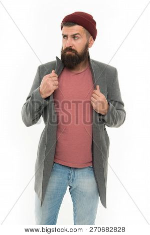 Fashion Man With Beard. Serious Man Isolated On White. Bearded Man. Male Barber Care. Mature Hipster
