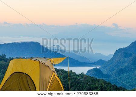 Yellow Tent At Doi Ang Khang, Ang Khang Mountain, Chiang Mai, Thailand.