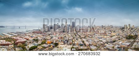 Classic Aerial View Of Modern San Francisco Skyline In Summer With Famous San Francisco Fog Rolling