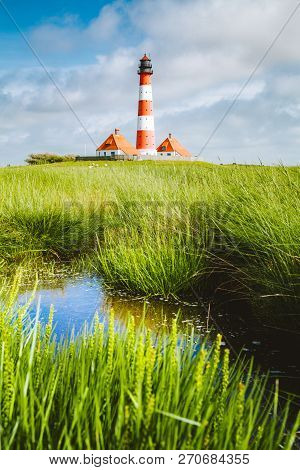 Beautiful View Of Famous Westerheversand On A Sunny Day With Blue Sky And Clouds In Summer, North Se