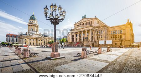 Panoramic View Of Famous Gendarmenmarkt Square With Berlin Concert Hall And German Cathedral In Gold