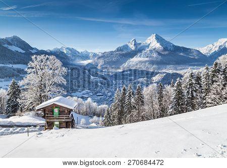 Beautiful Mountain Landscape In The Bavarian Alps With Village Of Berchtesgaden And Watzmann Massif