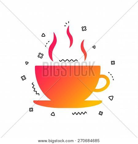 Coffee Cup Sign Icon. Hot Coffee Button. Colorful Geometric Shapes. Gradient Coffee Icon Design.  Ve