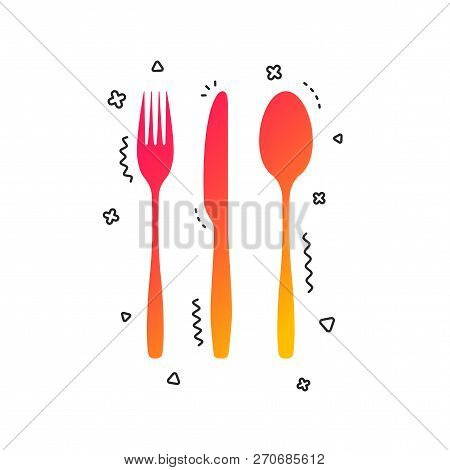 Fork, Knife, Tablespoon Sign Icon. Cutlery Collection Set Symbol. Colorful Geometric Shapes. Gradien