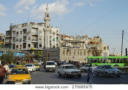 Damascus, Syria - January 14, 2010:  Street Traffic In Damascus Before The Outbreak Of The Civil War