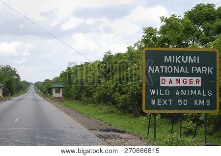 Mikumi National Park Warning Sign - Tanzania
