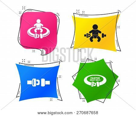 Fasten Seat Belt Icons. Child Safety In Accident Symbols. Vehicle Safety Belt Signs. Geometric Color