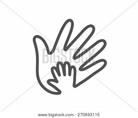 Hand Line Icon. Social Responsibility Sign. Honesty, Collaboration Symbol. Quality Design Flat App E