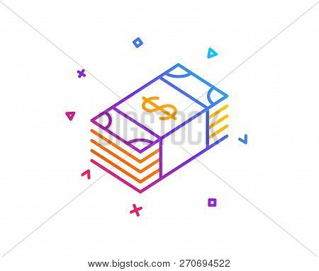 Cash Money Line Icon. Banking Currency Sign. Dollar Or Usd Symbol. Gradient Line Button. Usd Currenc