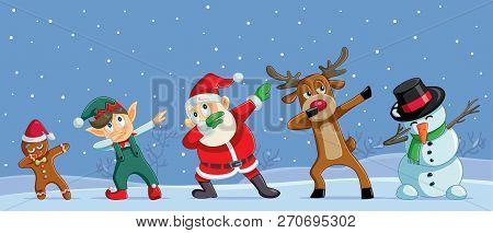 Dabbing Christmas Cartoon Characters Funny Banner Illustration