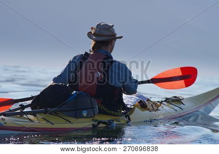 Pacific Ocean, Northwestern Vancouver Island, Bc, July 22, 2018: Man Paddling His Sea Kayak With An