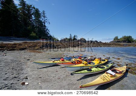 One Of Cuttle Islands, West Coast Of Vancouver Island, Bc, July 18, 2018: Colorful Kayaks Beached At