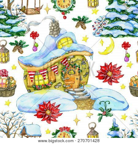 Christmas And New Year Seamless Pattern With Cute House, Conifer, Poinsettia And Holiday Objects. Wa