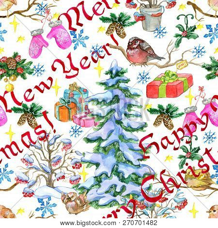 Christmas And New Year Seamless Pattern With Conifer, Presents, Mittens And Winter Bird On White. Wa