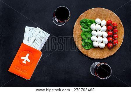 Gastronomical Tourism. Italian Food Symbols. Passport And Tickets Near Italian Food Like Cheese, Tom