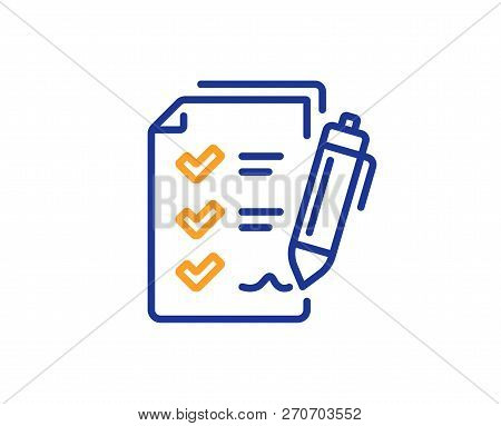 Survey Checklist Line Icon. Report Sign. Business Review Symbol. Colorful Outline Concept. Blue And