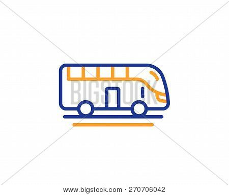 Bus Tour Transport Line Icon. Transportation Sign. Tourism Or Public Vehicle Symbol. Colorful Outlin