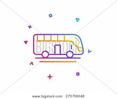 Bus Tour Transport Line Icon. Transportation Sign. Tourism Or Public Vehicle Symbol. Gradient Line B