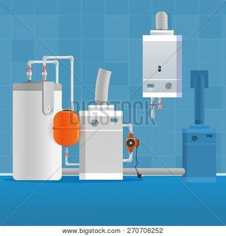 Vector Illustration Concept Bathroom Interior. Vector Image Cartoon Electric Boiler For Heating Wate