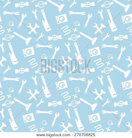 Illustration Pattern Concept Plumbing Fixture. Vector Cartoon Seamless Image Set Silhouette Plumbing
