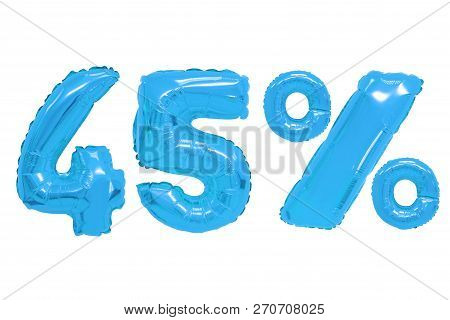 Forty Five Percent From Blue Color Balloons On Isolated Background. Discounts And Sales