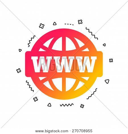 Www Sign Icon. World Wide Web Symbol. Globe. Colorful Geometric Shapes. Gradient Www Icon Design.  V