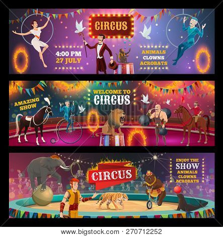 Vector Circus Show And Carnival Performance Of Clown, Magician And Animal Trainer, Juggler, Acrobats