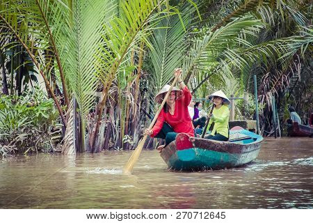 My Tho, Vietnam - November 24, 2018: Mekong River Delta Jungle Cruise With Unidentified Craftman And