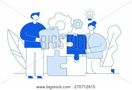 Vector Flat Line Style Business Teamwork And Idea  Design Concept With Big Modern People, Light Bulb