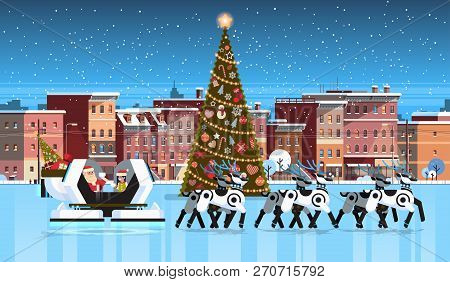 Santa With Elf In Robotic Modern Sleigh With Robot Reindeers City Building Houses Night Winter Stree