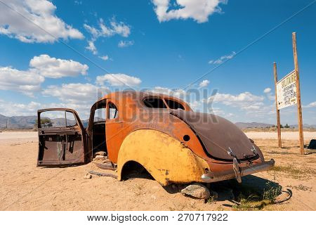Abandoned Cars In Solitaire, Small Settlement In The Khomas Region Of Central Namibia Near The Namib