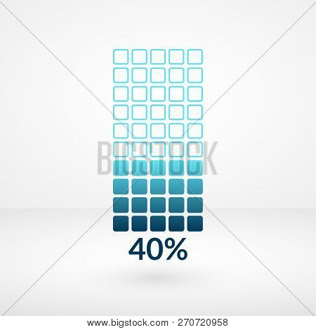 Forty Percent Square Chart Isolated Symbol. Percentage Vector Element. Infographic Diagram Sign. Bus
